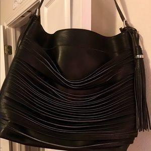 NEW Tassel Black Leather Strip Hobo Handbag Roomy